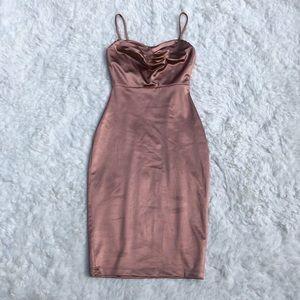 NWT Windsor Pink Satin Cowl Neck Mini Dress